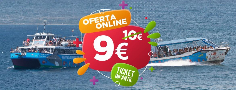 Ticket ÚNICO INFANTIL Lancha Rápida Catamarán Visión Submarina Viaje Santa Pola-Tabarca IDA y VUELTA