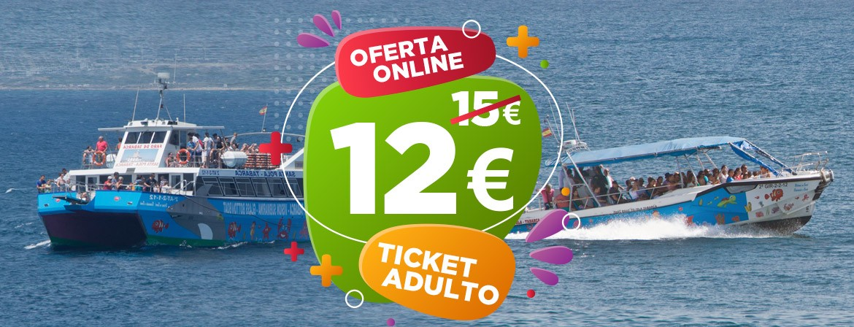 Ticket ÚNICO ADULTO Lancha Rápida Catamarán Visión Submarina Viaje Santa Pola-Tabarca IDA y VUELTA